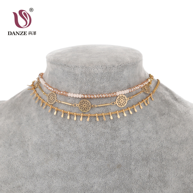 DANZE Bohemia Beaded Choker Necklace sets for Women Indian Metal Hollow Necklace