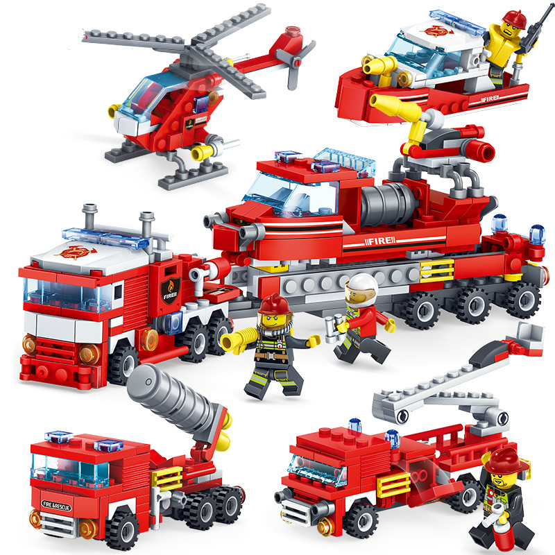 348pcs Fire Fighting 4in1 Trucks Car Helicopter Boat Building Blocks Compatible legoing city Firefighter figures children Toys