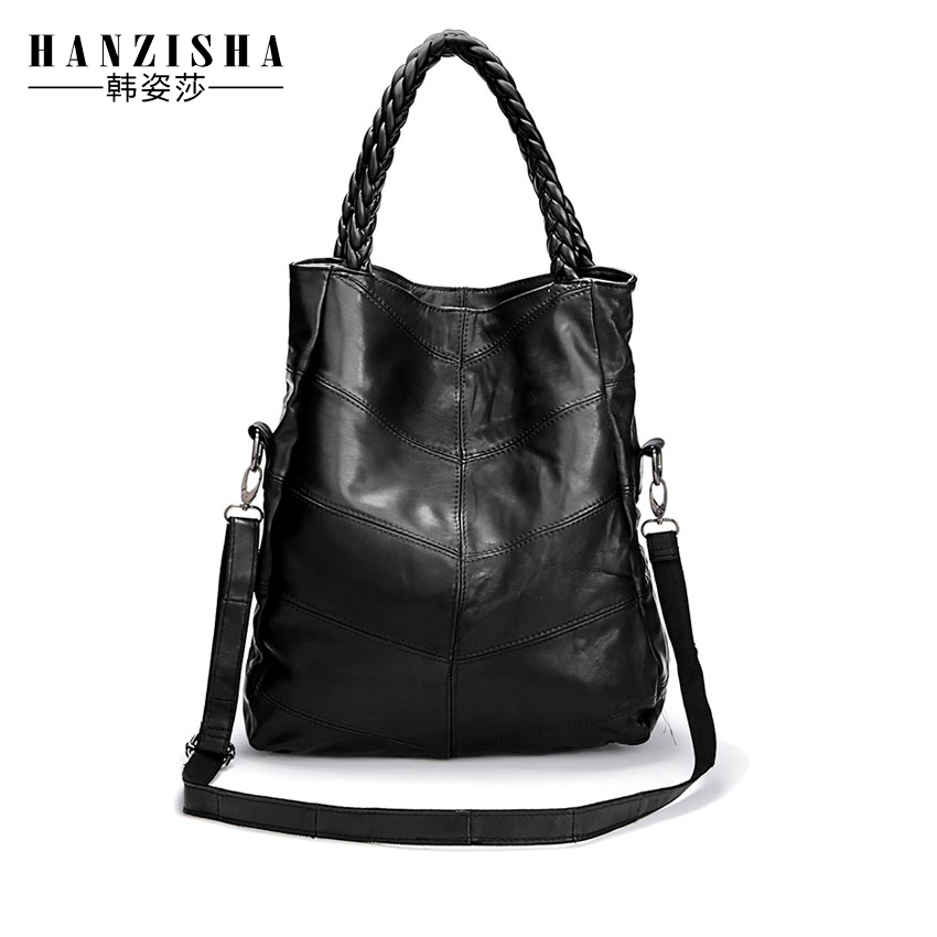 2017 New Fashion  Genuine Leather Women Bag Patchwork Sheepskin Women Shoulder B