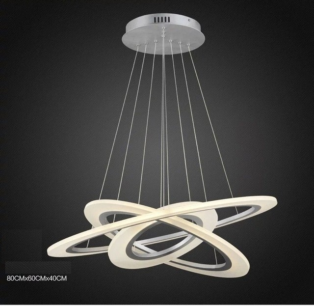 Aussetzung LED Kronleuchter Für Esszimmer Kreis Glanz Lichter Weiß Lackiert  110 V 220 V 40 CM