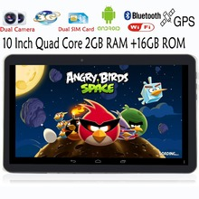 10 Pulgadas Original 3G Llamada de Teléfono Android Quad Core Tablet pc Android 4.4 2 GB RAM 16 GB ROM WiFi FM Bluetooth GPS 2G + 16G NiceTablets