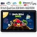 10 Pulgadas Original 3G Llamada de Teléfono Android Quad Core Tablet pc Android 4.4 2 GB RAM 16 GB ROM WiFi FM Bluetooth GPS 2G + 16G NiceTablets
