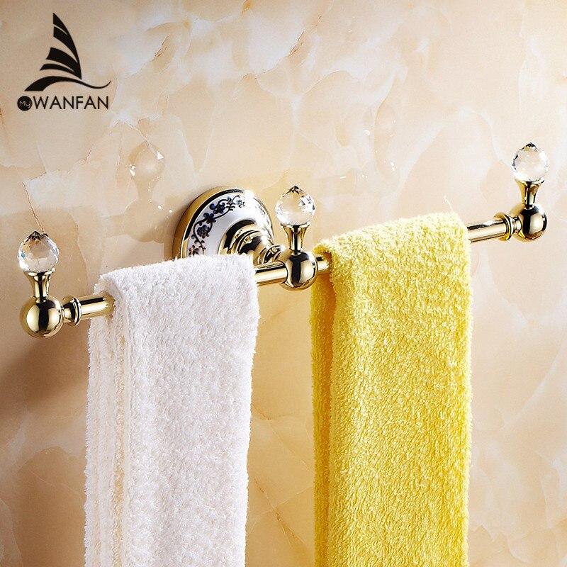 Toalleros lujo cristalino de oro Barra de toalla montado en la pared de  cerámica plata toallero del baño Accesorios 6319 en Toalleros de Mejoras  para el ... a3db1cbbe4ae