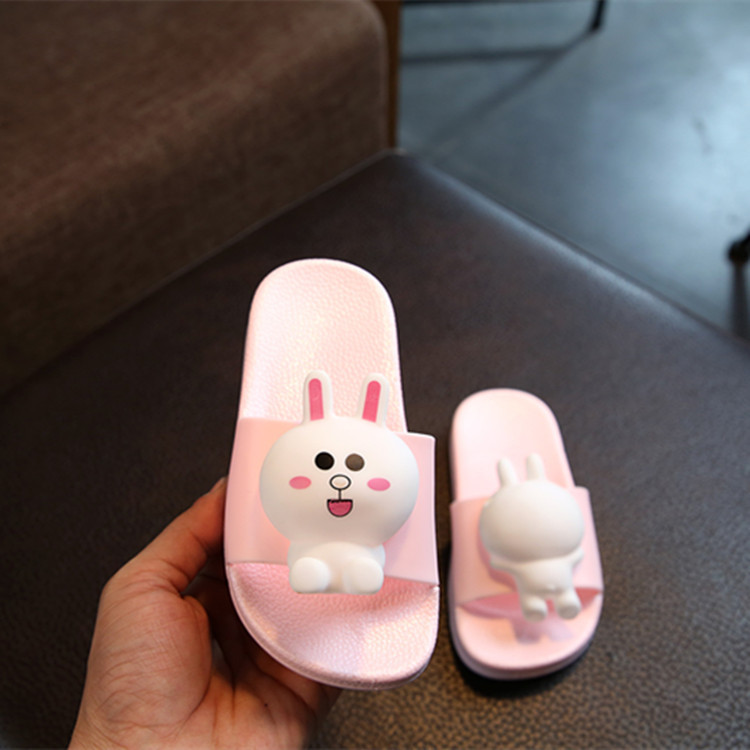 New Arrive Childrens Rabbit Sandals and Slippers Boys Cartoon Toy Head Non-slip Padded Loafer Summer Shoes