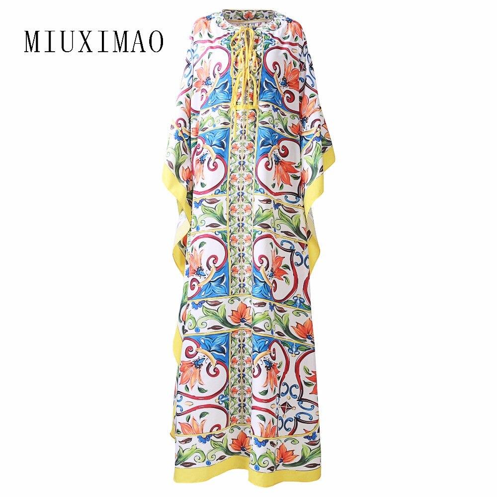 Robe de grande taille personnalisé haute qualité Maxi robe femmes demi manches élégant fleur imprimer Vintage longue robe femmes