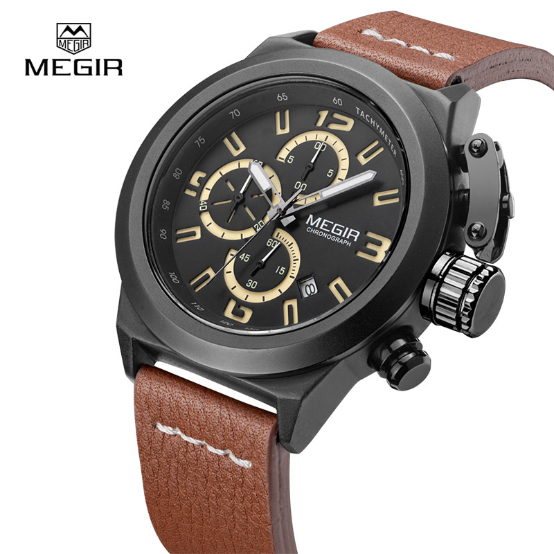 MEGIR Top Brand Chronograph Military Quartz Watch Men Luminous Calendar Clock Genuine Leather Casual Wrist Watches 2029