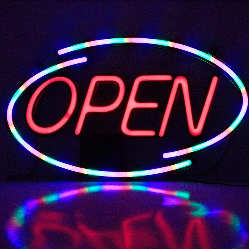 45 * 25led néon ouvert signe publicité lumière Bill board centre commercial lumineux animé mouvement magasin d'affaires magasin ouvert Us/eu Plug