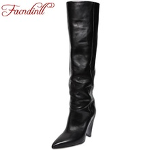 FACNDINLLeurope america popular women over the knee boots high heel soft leather pointed toe botas winter thigh high boots women