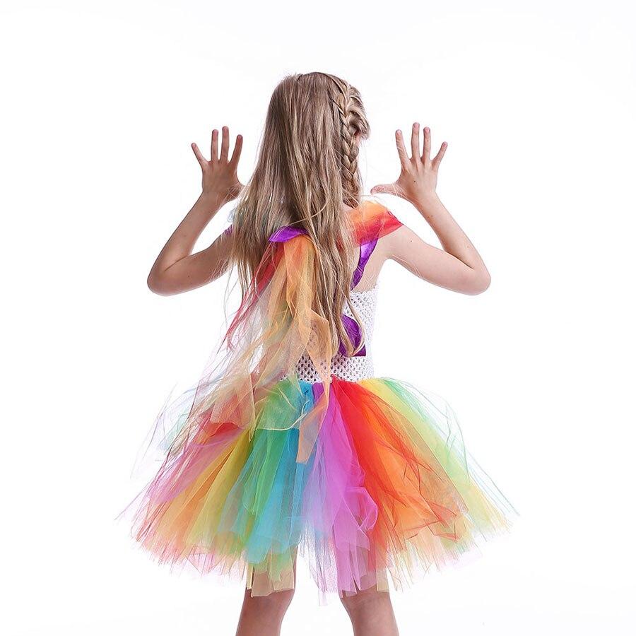 Girls Circus Fancy Clown Tutu Dress with Bow Children Handmade Rainbow Tulle (9)
