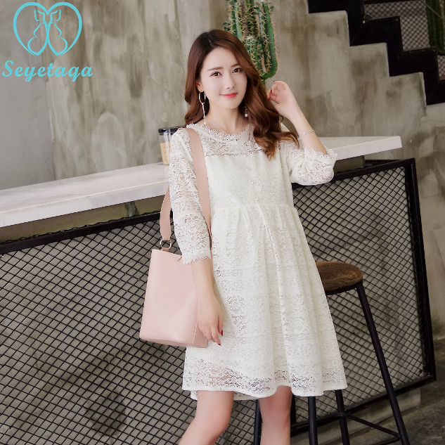 A905  Hollow Out Lace Cotton Maternity Dresses 2018 Elegant Summer Fashion  Clothes for Pregnant Women ecaccb9acfab