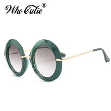 WHO CUTIE 2018 Oversized Round Sunglasses Women Luxury Brand Designer Vintage Retro Green Frame Female Sun Glasses Shades OM567