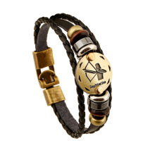 Fashionable Bronze Alloy Buckles Zodiac Signs Bracelet Punk Leather Bracelet Wooden Bead Black Hematite Lover Charm