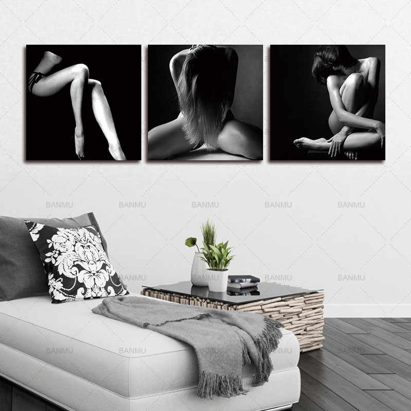 3 Panel Canvas Wall Art Modern Paintings Abstract Oil Painting Sexy Woman On Canvas Home Decoration Unframed