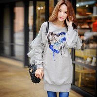 Original 2016 Brand Svitshot Autumn Winter Fashion Streetwear Light Gray Sequined Long Hoody Women Wholesale