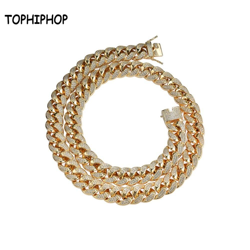 Hiphop nouveau Style mâle Zircon cubique Micro pavé couleur or Bling tous glacé bijoux chaîne cubaine 17mm largeur collier