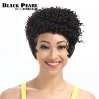 Perla nera Afro Crespo Ricci Parrucche Per Le Donne Nere di Modo Breve Pixie Cut Cosplay Parrucca 100% Capelli Umani Parrucche Remy Brasiliana Dei Capelli