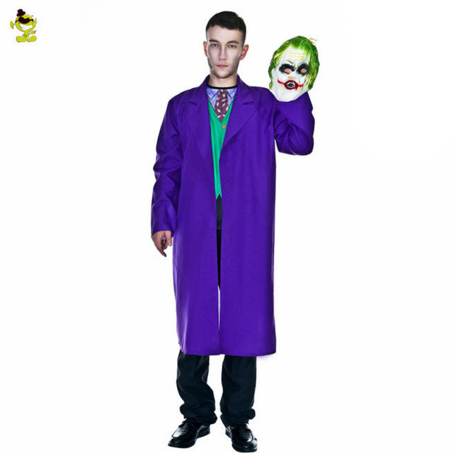 Online Shop New Joker Killer Costume With Ugly Scary Mask Adults Men