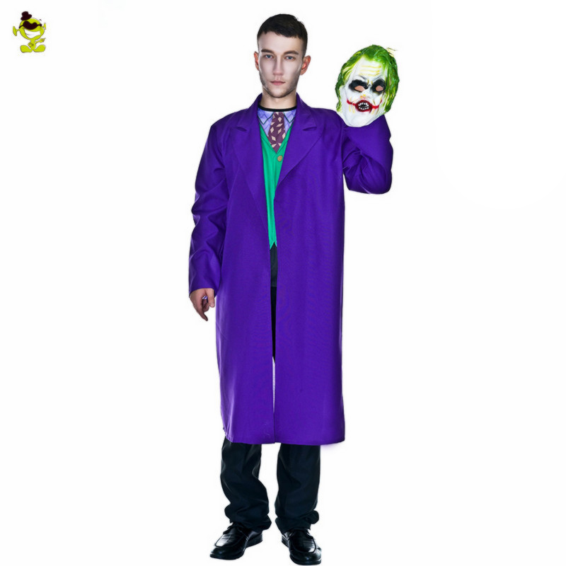 New Joker Killer Costume With Ugly Scary Mask Adults Men Killer Halloween Costume For Mens killer Party Role Play Costumes