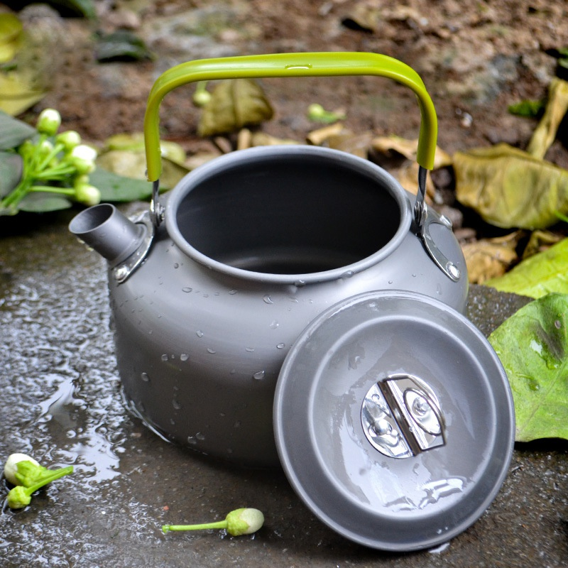 Camping Kettle Camp Tea Kettle Coffee Pot Aluminum Outdoor Hiking Kettle Portable Teapot Compact Lightweight With Silicon Handle