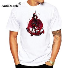 Anime RWBY T Shirt Ruby Rose Weiss Schnee T-shirt RWBY Red Rose Cetak Tee Atasan Pria Wanita Pesta Cosplay Kostum putih Tshirt(China)