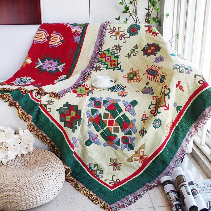 Bavlněná přikrývka s dobrou funkcí oboustranného použití, bavlněná přikrývka, odolný potěšitelný potah, potahová textilie Retro Bohemia