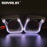 ROYALIN Car Styling DRL LED Angel Eyes Anillos de Halo Kit U tipo para 2.5 Mini H1 Lente Del Proyector Cubiertas Luz Corriente Diurna máscaras