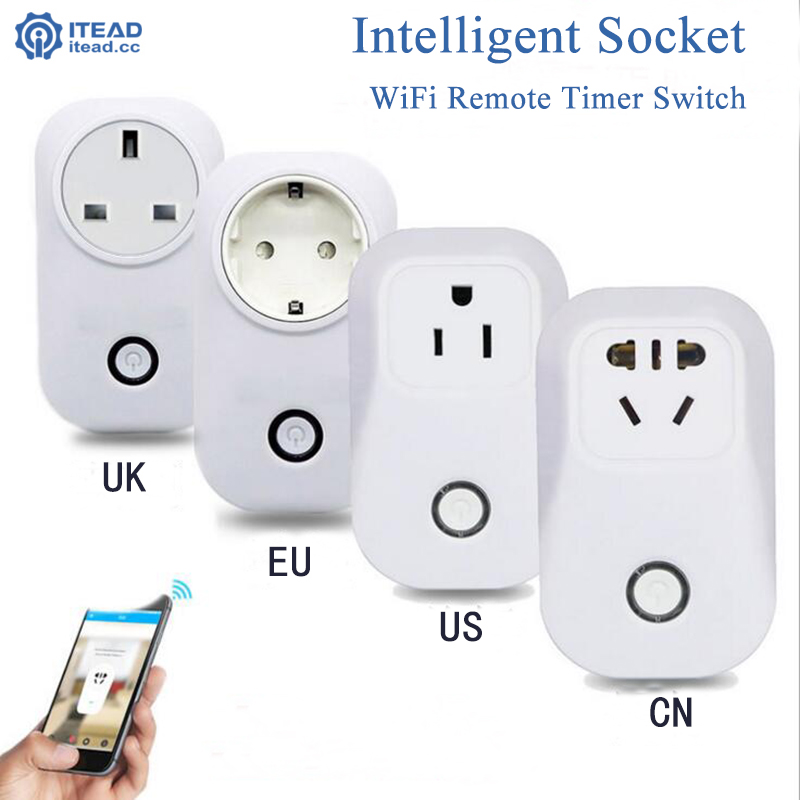 Itead Sonoff S20 wifi wireless remote socket smart timer plug Smart Home Outlet Power Socket EU US UK CN Standard Via App Phone sonoff eu us uk au standard wifi smart socket wireless remote control socket smart home automation smart power socket plug