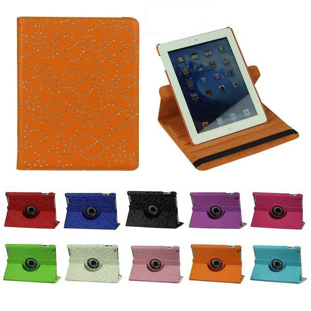 GTH Fashion Luxury 360 Rotating PU Leather Diamond Flower Smart Cover case For Apple ipad 2 ipad 3 ipad 4 ipad4