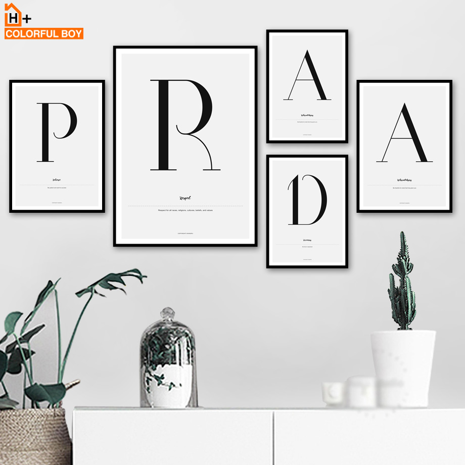COLORFULBOY Prada Letter Quotes Wall Art Print Canvas Painting Nordic Poster Black And White Wall Pictures For Living Room Decor