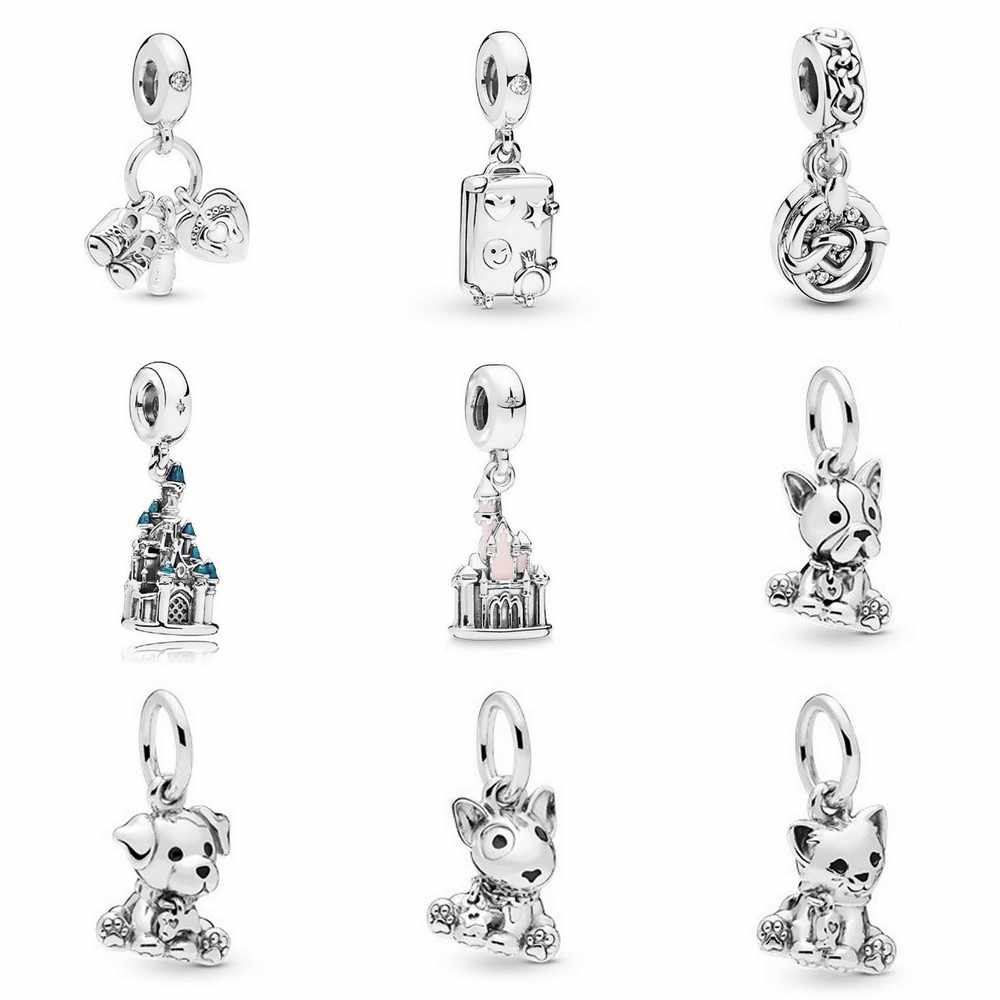 New Original Silver Bead Puppy Sweet Cat Bag castle Hanging Pendant Charm Fit Pandora Bracelet Necklace DIY Women Jewelry