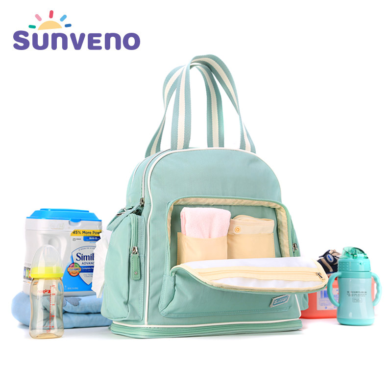 купить Sunveno Big Capacity Mummy Diaper Bag Waterproof Baby Bag Maternity Nappy Bag Travel Backpack for mom Handbag stroller bag недорого