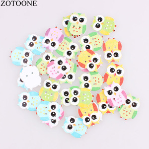 ZOTOONE 100Pcs Mixed Wooden Buttons Cute Bird Pattern Decoration Buttons 2 Holes Sewing Accessories Craft DIY Scrapbooking D