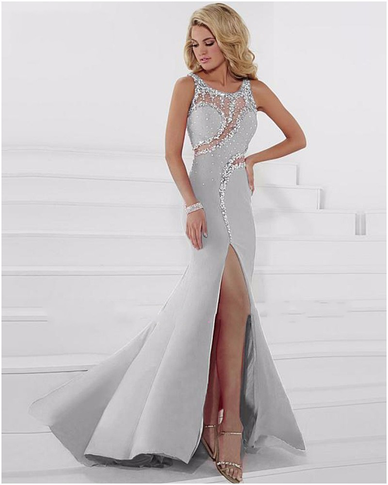 Bling sequined skirt slit light gray chiffon mermaid prom dresses bling sequined skirt slit light gray chiffon mermaid prom dresses gowns slim elegant women plus size vestido de festa in prom dresses from weddings events ombrellifo Choice Image