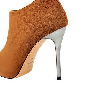 Image 5 - BIGTREE Spitz Metall Ferse Mode Damen Stiefeletten High Heels Schuhe Frauen Solide Flock Seite Zipper Concise Kurze Stiefel