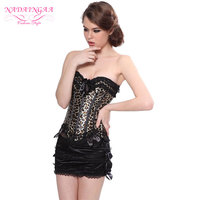 Sexy Leopard Corset Burlesque Clothing And Wild Bustier With Hot Mini Skirt S 6XL Showgirl Costume