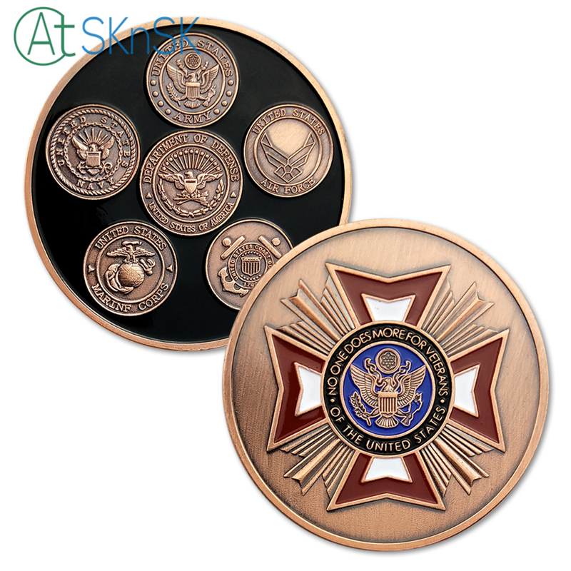50/100pcs U.S. Army Souvenir Coin No One Does More For Veterans Military Challenge Coins ...