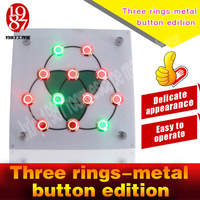 Takagism game new prop,live real life room escape props jxkj 1987 three rings metal button edition press buttonto open lock