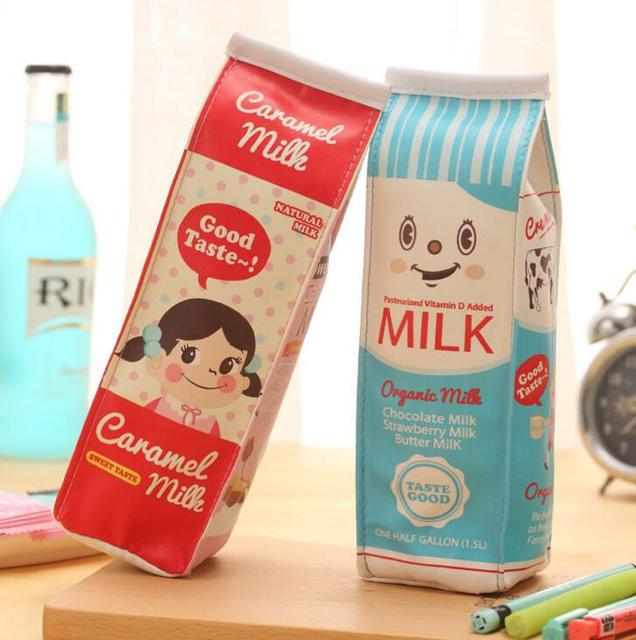 Simulazione creativa Latte Box Cuoio Cassa di Matita Della Cancelleria Dell'organizzatore Di Immagazzinaggio Del Sacchetto di Scuola di Forniture Per Ufficio Escolar Papelaria