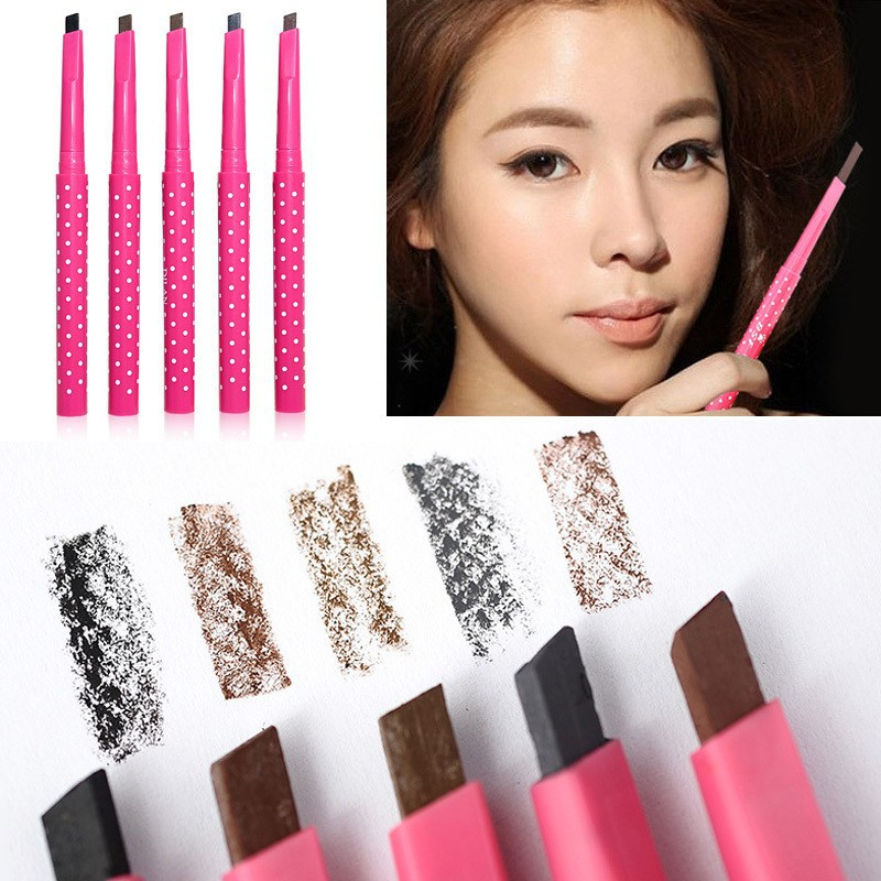 Cosmetic Waterproof Long lasting 5 Color Eyebrow Pencil Eye Brow Liner Powder Shapper with stencil Makeup Tool maquillage HM010#