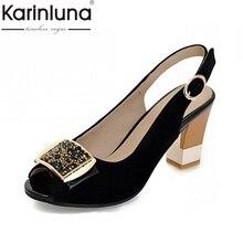 cfb820ffd959a Karinluna En İyi Kalite Artı Boyutu 32-43 Moda Geri Askısı Yaz Peep Toe  Parti Kadın Ayakkabı Yüksek Topuklu Ayakkabı kadın Sanda.