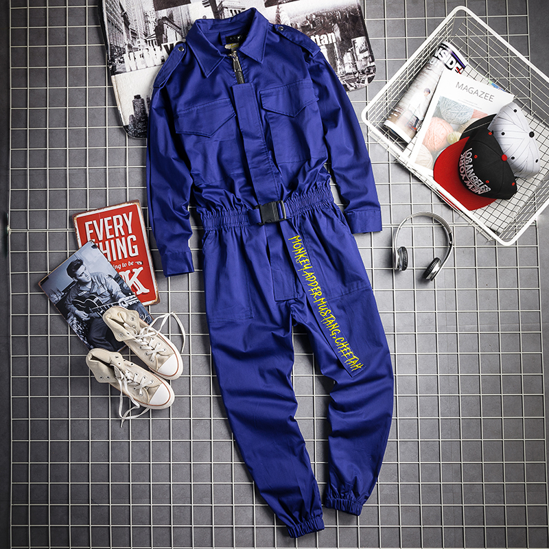 New 2019 Autumn And Winter Korean Personality Men's Multi-pocket Tooling Jumpsuit Hair Stylist Simple Casual Jumpsuit