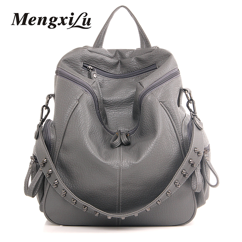 цены на High Quality Rivet Backpack Women Leather Black School Bags For Teenagers Fashion Female Backpack 2017 Ladies Bag Bolsa Feminina в интернет-магазинах
