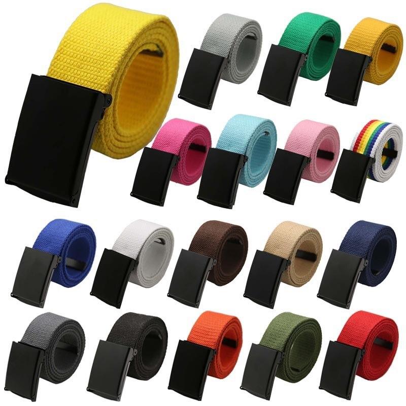 Fashion Unisex durable Plain Webbing Men Boys Waist Belt Casual Canvas Waistband Comfort belt L50C