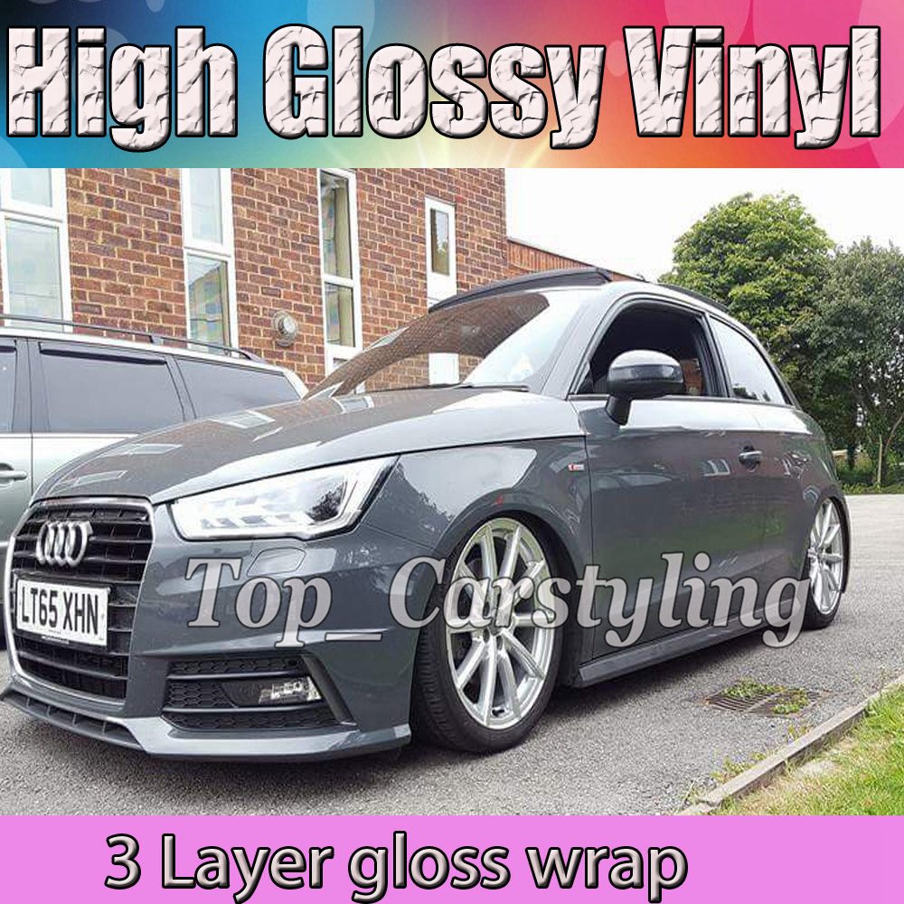 Enveloppe de vinyle gris de Nardo de ciment de lustre avec l'emballage de véhicule de 3 couches avec le revêtement de voiture sans bulle taille: 1.52x20 m/roll