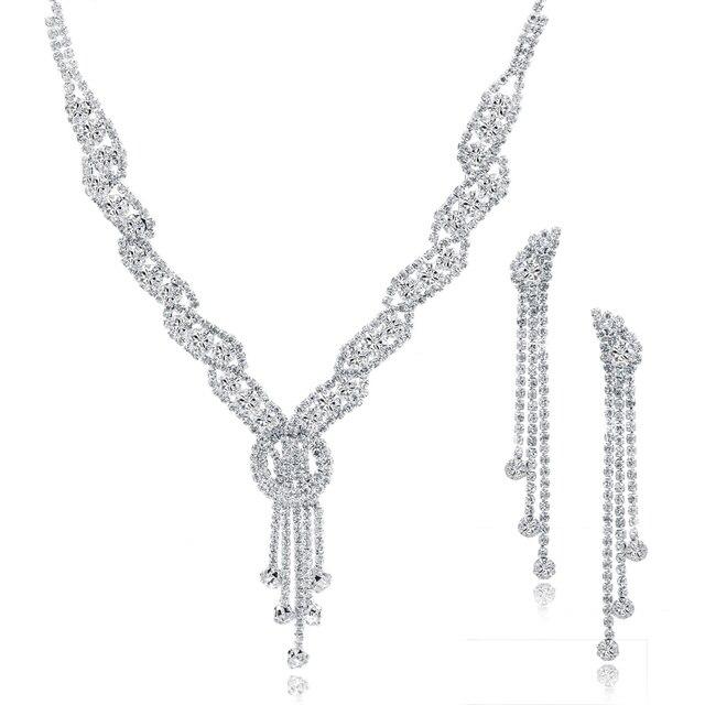 ATTRACTTO Custom Fashion Rhinestone Wedding Jewelry Set Tassel Necklace Earrings For Bridal Elegant Lady's Jewelry Set SET150067 3