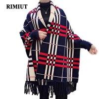 RIMIUT 2017 New Arrical Pure Cashmere Plaid Women Pashmina Scarf Women Autumn Winter Thick Warm Female
