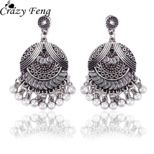 Crazy Feng Vintage Antique Silver Color Drop Earrings  Women Ethnic Bell Pendant Earrings Fashion Indian Jewelry Brincos Bijoux