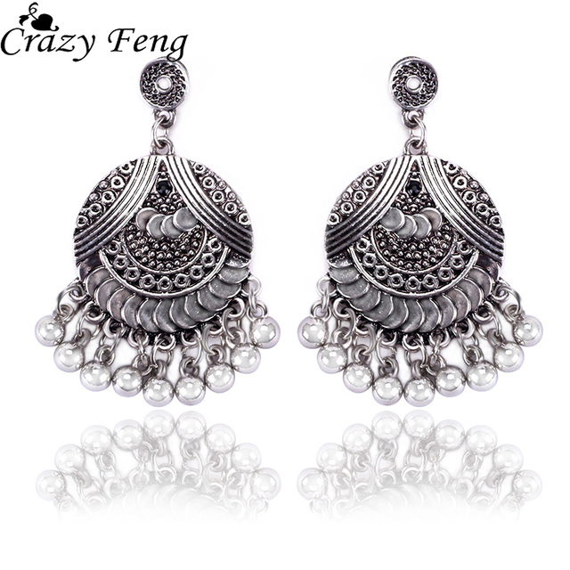 Crazy Feng Vintage Antique Silver Color Drop Earrings Women Ethnic Bell Pendant Fashion Indian Jewelry