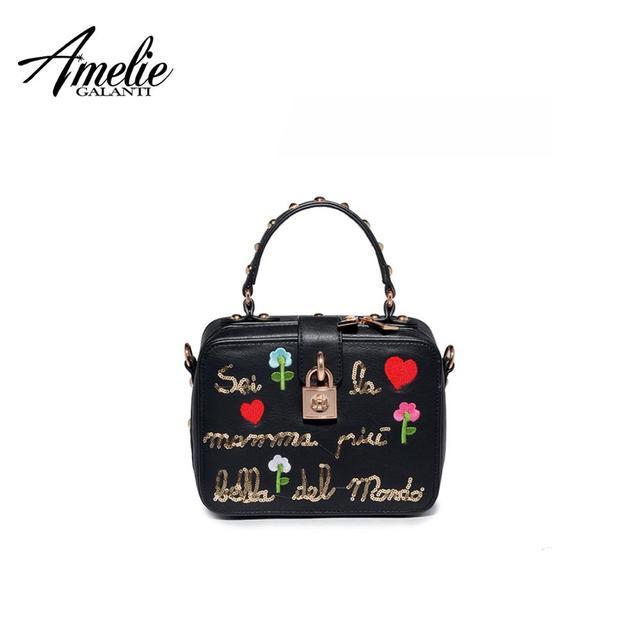 AMELIE GALANTI Women's Bag Flap Lovely fashion Embroidery Letter Small Cartoon Women Shoulder Bag Hard Crossbody Women Handbags