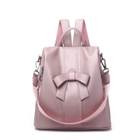 ACE LOVE brand casual fashion bow ladies satchels zipper pink shopping party preppy style rucksack women shoulder bag backpacks